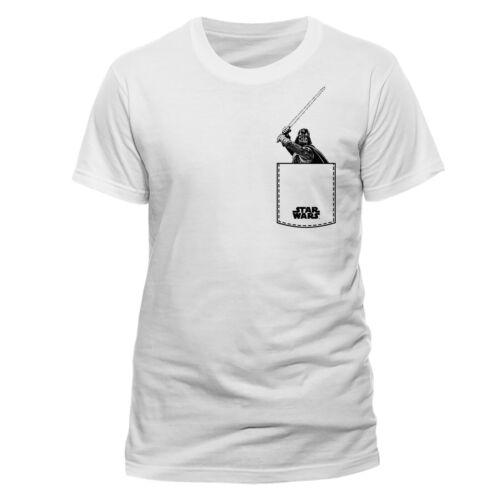 Star Wars Darth Vader Lightsaber Pocket Official White Men T-shirt