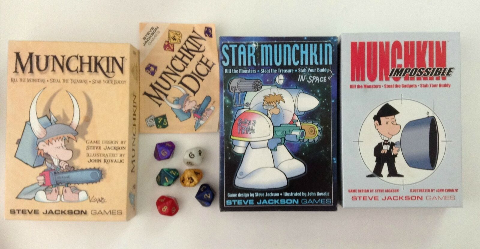 3 Munchkin Games + Rare 10 Sided Dice Set + Original Cards