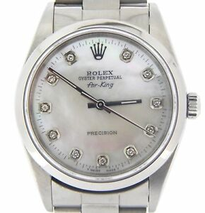 Rolex Air King Precision Mens Stainless Steel Watch White MOP Diamond Dial 14000
