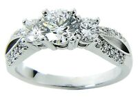 Three-stone Diamond Engagement Ring Solid 14k White Gold 1.52 Carats