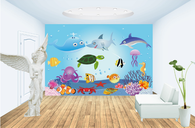 3D Jellyfish Turtles Octopus Paper Wall Print Wall Decal Wall Deco Indoor Murals