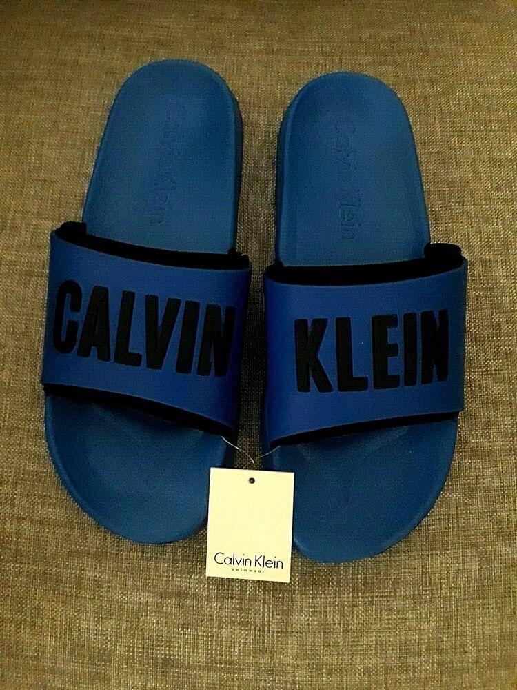 *** Calvin Klein Pour Homme Bleu Électrique Curseurs Taille Uk 9/10 *** Prix RéDuctions