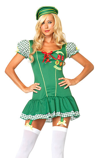 Trouble Girl Scout Costume 83608 Leg Avenue Green Xtra Small For