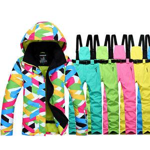 331a4567b Womens Outdoor Waterproof Ski Snowsuit Jacket + Snowboard Pants Bibs ...
