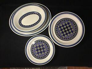 ROYAL-DOULTON-Blue-White-034-Tangier-034-Stoneware-Plates-Platters-1974-1982-LS-1005