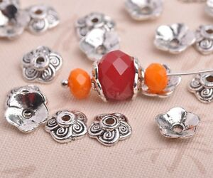 50pcs-8mm-Tibetan-Silver-Flowers-Caps-Charm-Loose-Spacer-Beads-Jewelry-Findings