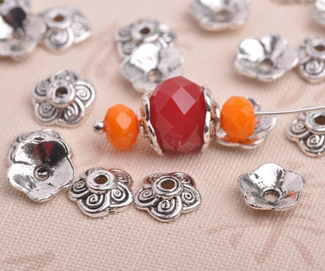 50pcs 8mm Tibetan Silver Flowers Caps Charm Loose Spacer Beads Jewelry Findings
