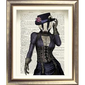 DICTIONARY-ART-PRINT-ORIGINAL-ANTIQUE-BOOK-PAGE-Animal-BADGER-Picture-VINTAGE