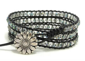 Image Is Loading Leather Wrap Bracelet With Crystals Crystal