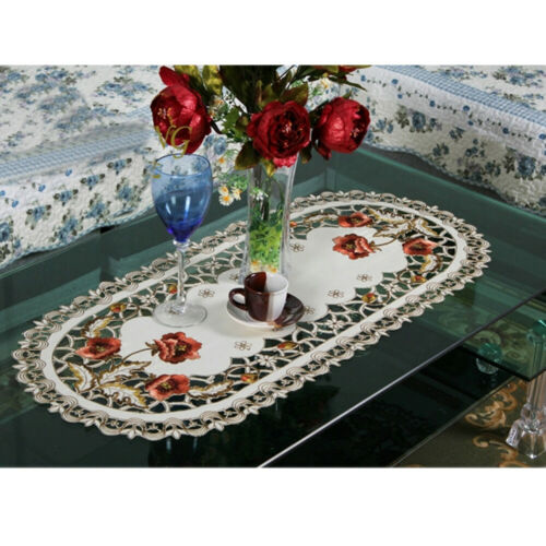 Oval Vintage Embroidered Tablecloth Doily Wedding Party Dinner Decor Table Cover