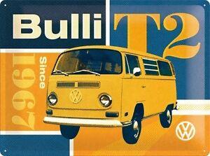 VW-T2-Bulli-ANOS-60-ANOS-70-Camper-Volkswagen-Furgoneta-Garaje-Grande-3d-METAL