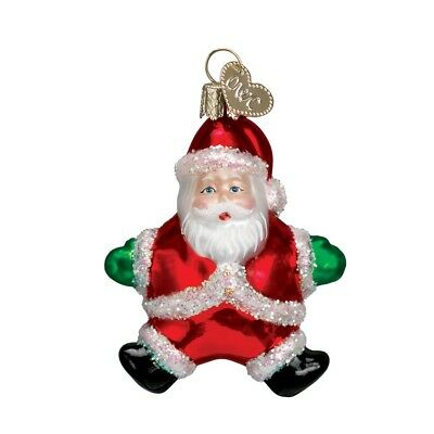 Small Santa Green Gloves Blown Glass Christmas Ornament by Old World Christmas
