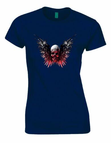 Weaponised Skull Gothic Riders Ladies Woman Cut Tshirt Tee Top AK15