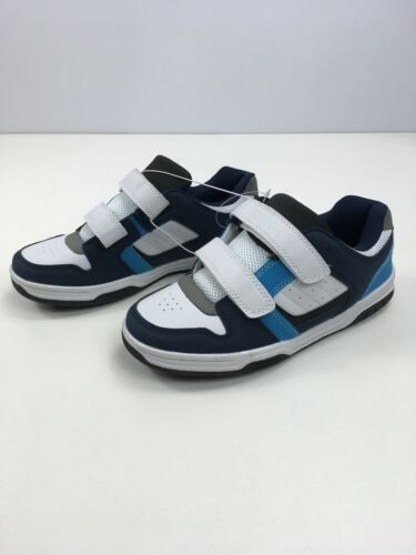 NEW BOYS F/&F NAVY BLUE WHITE BLUE GREY PULL STRAPS TRAINERS SHOES UK 6 EU 39