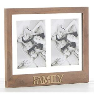 Family Rustic Wood Collage Photo Frame Brass Letters Holds 2 6 X 4