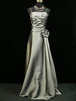 Cherlone Satin Grey Long Prom Ball Gown Wedding/Evening Bridesmaid Dress 12-14