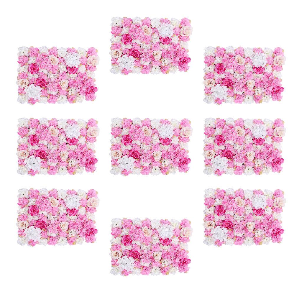 9x Artificielle Rose Flower Wall Panel mariage Arrière-plan Décor