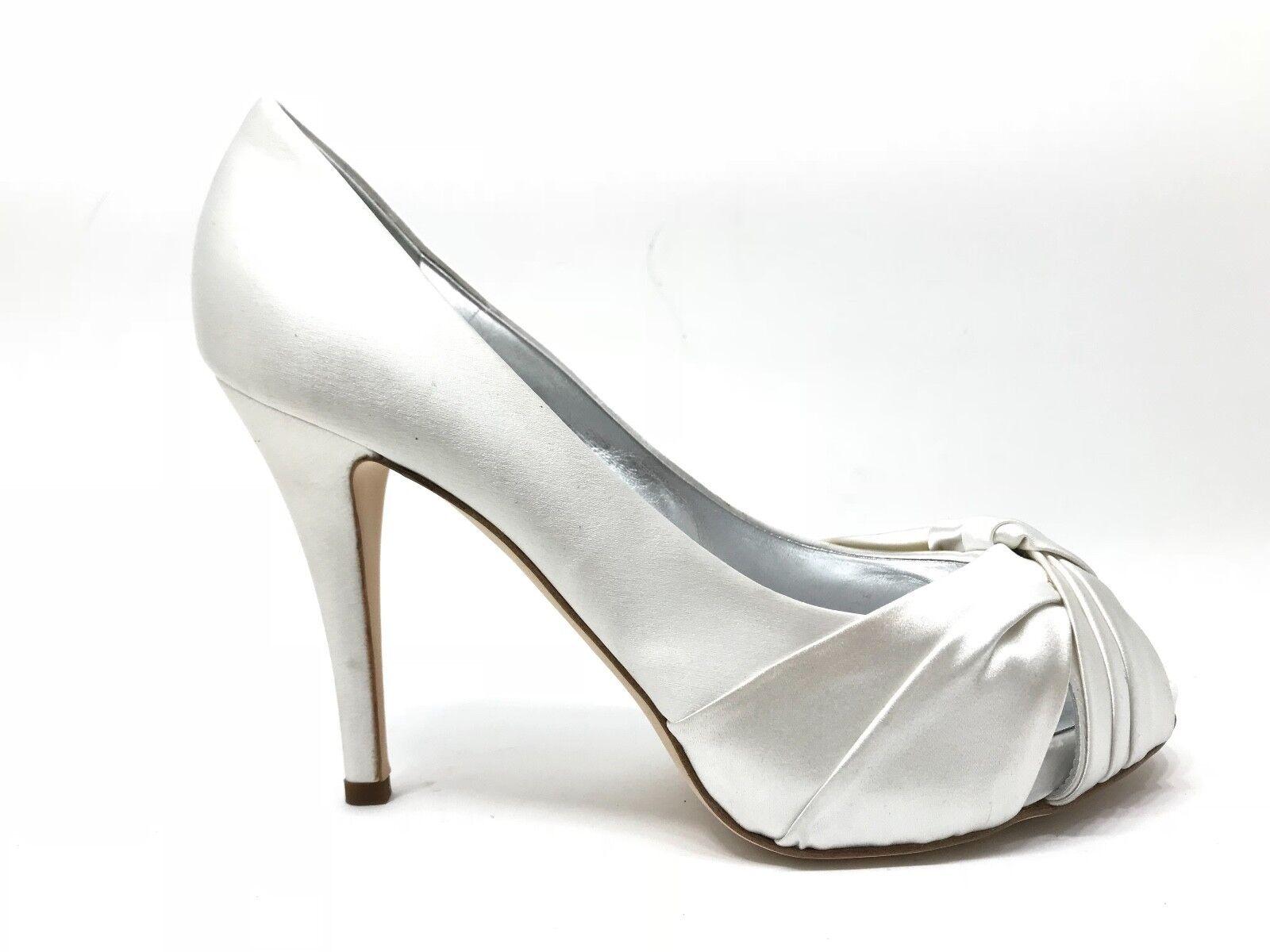 ZZ70 Damenschuhe 40 Pumps Giuseppe Zanotti Satin Weiß Braut Made in