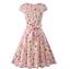 Women-1950s-60s-Vintage-Floral-Style-Rockabilly-Cocktail-Party-Swing-Tea-Dress miniatuur 4