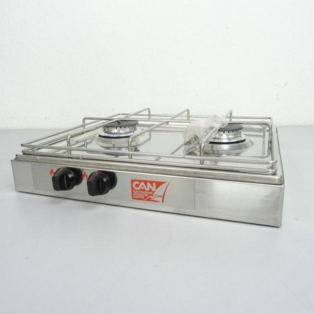 CAN Edelstahl Aufbau-Gaskocher Gasherd 2-flammig je 1750W 390x365x97mm Stiefel