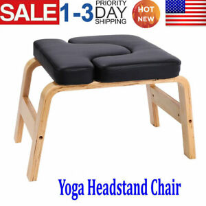 headstand bench yoga chair inversion bench w/pu pad wood