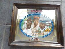 Vintage Negro League PAIGE GIBSON LEONARD Seagram's Wood Framed Bar Mirror