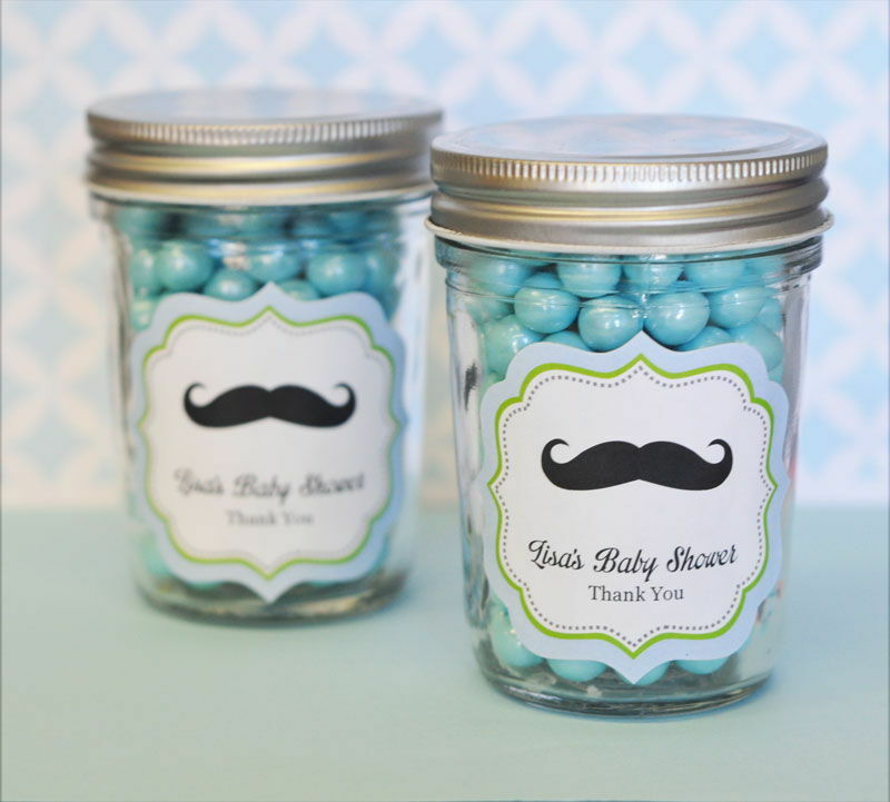 96 Personalized Little Man Theme Mini Mason Jars Baby Shower Favors