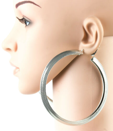 10cm 3d Large Thick Chunky Hoop Earrings Diamond Cut Oversized Polished Hoops