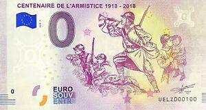 BILLET-0-EURO-CENTENAIRE-DE-L-039-ARMISTICE-1918-FRANCE-2018-NUMERO-100