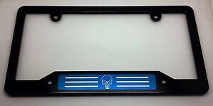 HMC Billet License Plate Frame Black Anodized AMERICAN FLAG PUNISHER BSNP