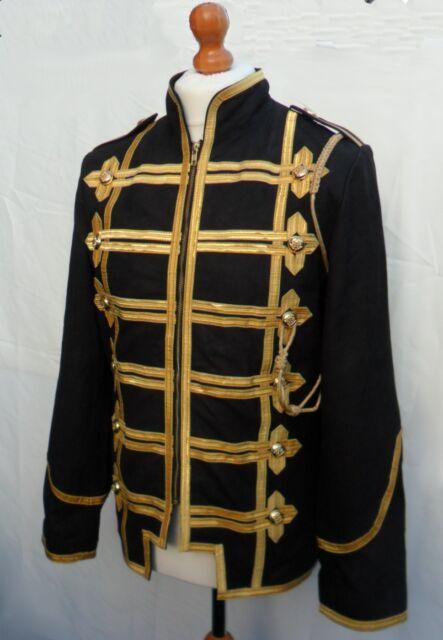 "REDUCED 40"" (101.6cm) Military Rock Jacket Tunic Coat NUBUCK LEATHER  Steampunk"