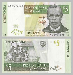Africa Coins & Paper Money Rational Malawi 5 Kwacha 1997 P36a Unz.