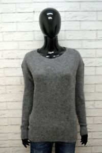 Maglione-WOOLRICH-Donna-Taglia-XL-Pullover-Cardigan-Sweater-Woman-Grigio-Lana