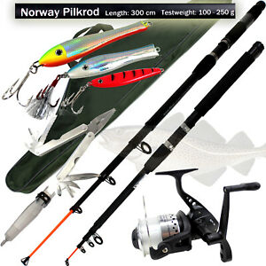 ANGELSET-Norwegen-XL-2x-Pilk-Rute-Rolle-3-Pilker-Angler-Werkzeug-ue5ue938
