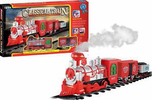 Luna Eisenbahn Spielset 14-tlg. Dampflok Waggons Schienen mit Licht u. Sound +3J