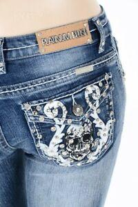 Platinum Plush Black Cross Denim Blue Biker Boot Cut Jeans Sz 5,7,9,11,13,15