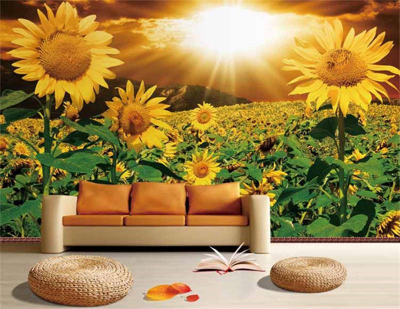 Sunny Sunflower Farm Full Wall Mural Photo Wallpaper Print 3D Decor Kids Home