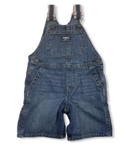 OshKosh B'Gosh Baby Denim Overalls Shortalls Blue Jean One Piece Sz 24M Vestbak