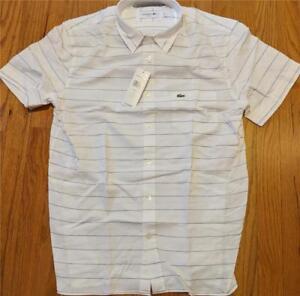 c719a79535db62 Authentic Lacoste Striped Cotton Linen SS Button Up Shirt White 44 ...