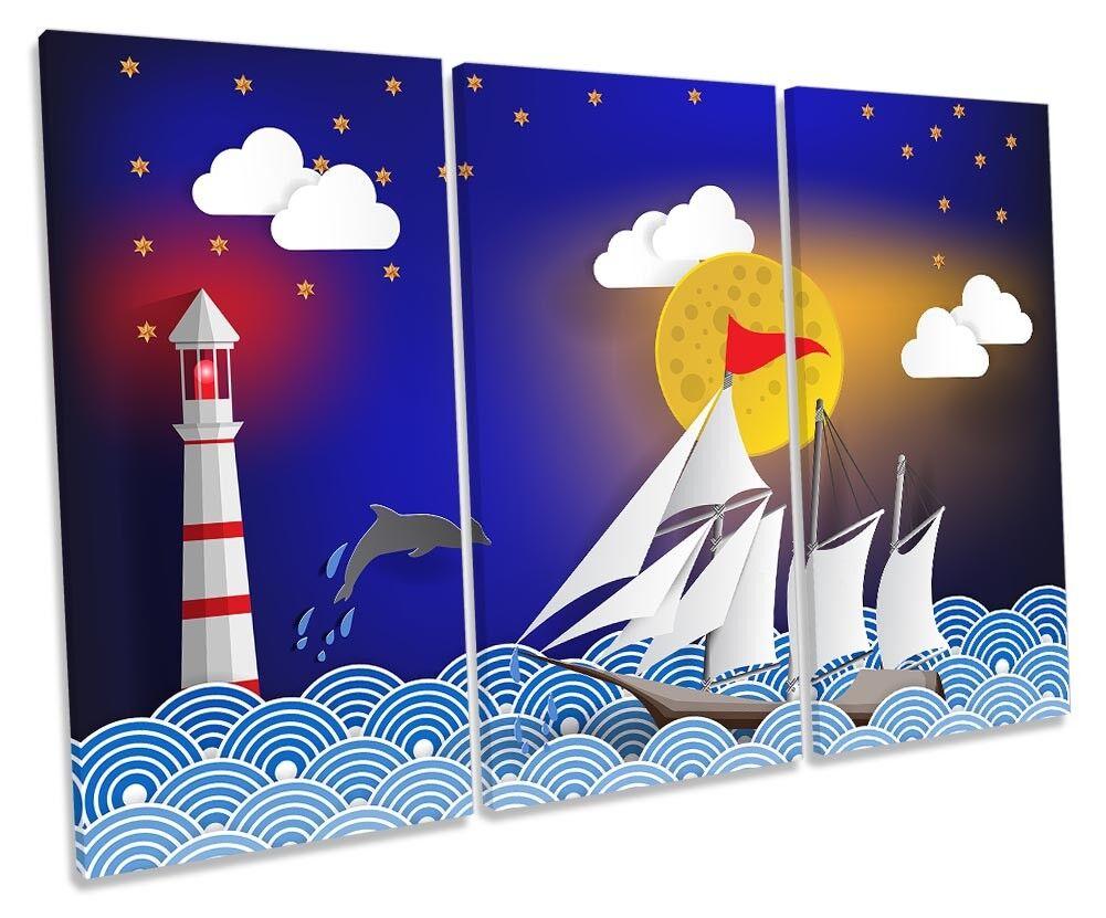 Sail Boat Yacht Lighthouse Blau Framed TREBLE CANVAS PRINT Wall Art