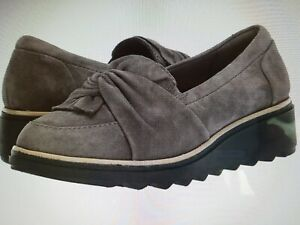 NWT-Clarks-Collection-Size-9-Suede-Slip-On-Loafer-Sharon-Dasher-Grey-MSRP-95-00