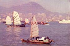 HONG KONG: VIEW OF HARBOR - In Flight with TWA