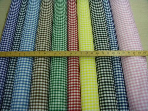 1CM Check Poliestere Cotone Tessuto a Quadretti Tessuto 10 colori
