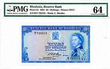 Rhodesia … P-24 … 10 Shillings … 1964 … *UNC*  PMG 64.