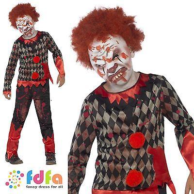 BLOODY ZOMBIE CLOWN & MASK HALLOWEEN - age 4-12 - kids boys fancy dress costume