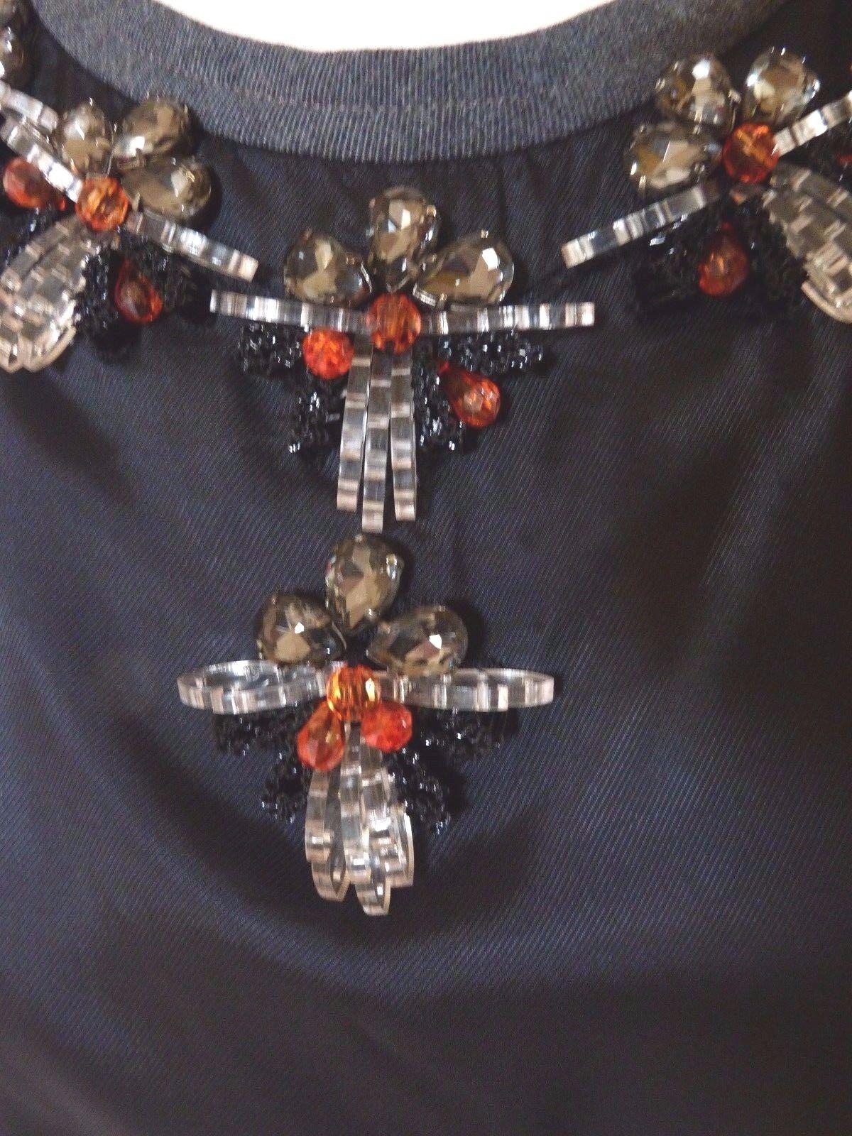 Excelente  Marni Negro Satinado Vestido Joya Adornado Escote Talla 40 Reino Unido 10  venta de ofertas