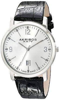 NEW Akribos XXIV AK780SS Men's Stainless Steel Croco Pattern Black Leather Watch