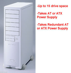 Big-AT-ATX-Beige-Server-Tower-Chassis-Case-15-bays-SIngle-Dual-PSU-ECE6102