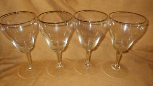 Crystal Wine Glasses rimmed in silver tulip shaped hexagon stem Great condition
