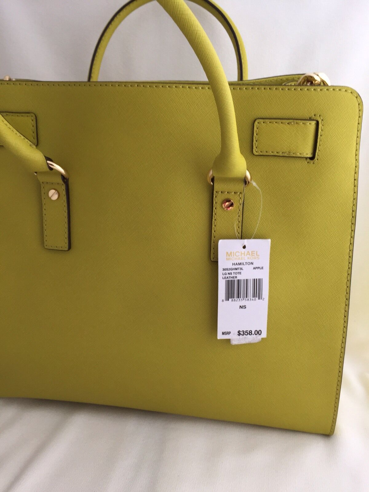 eedb680255ccae Michael Kors Hamilton Large North South Tote Apple Green Leather Purse for  sale online | eBay